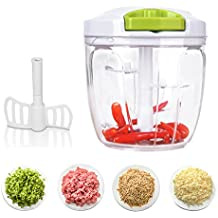 YESUPRISE Manual Food Chopper Blender Processor with 5 Sharp Blades & 900ml for Vegetables, Fruit, Nuts, Meats, Garlic, Herbs - Green
