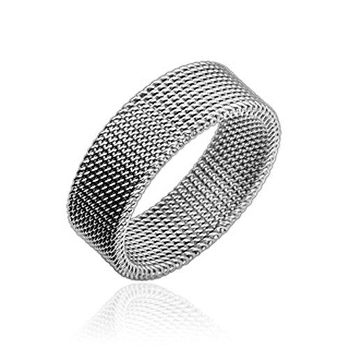Bungsa® Flexibler Ring Maschen Edelstahl Silber für Damen & Herren 49-70 (Fingerring Schmuckring Modering Mesh Partnerringe Frauen Männer Chirurgenstahl)