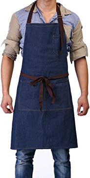 """Adjustable Bib Apron with 3 Pockets - Denim Jean Kitchen Aprons for Women and Men 32 x 27"""" Father's Gift for Chef Cooking Art"""