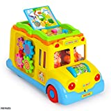 Memtes® Musical Yellow School Bus Toy with Music Sound and Lights, Bump and Go Action offers