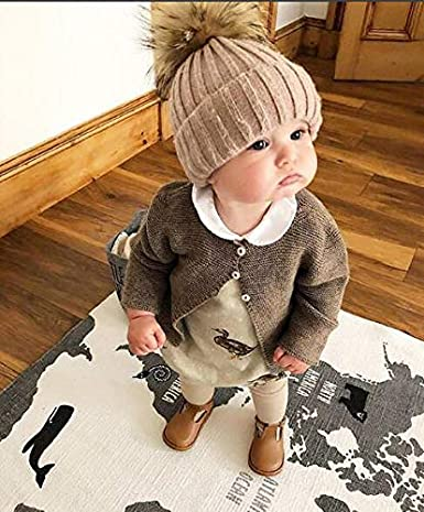 Newborn Baby Winter Faux Fur Beanies Hat Infant Girl Boy Knitted Pompom Ski Cap