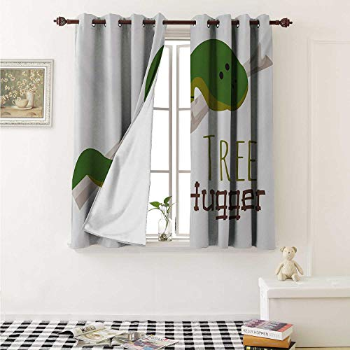 Reptile Drapes for Living Room Cute Cartoon Snake Hanging from Tree Hug Love Mascot Humor Comic Design Print Curtains Kitchen Window W96 x L72 Inch Green Navy Ecru
