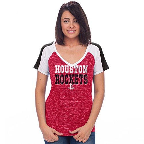 Creative Apparel Concepts NBA Houston Rockets Adult Women NBA Women's Jersey Short Sleeve V Neck Tee, X-Large, Red/Black/White