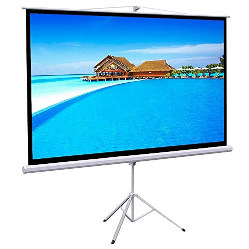 "Gotobuy 100"" Projector 16:9 Projection Screen HD Adjustable Tripod Manual Pull-down 87"" x 49"" Portable Foldable Stand"