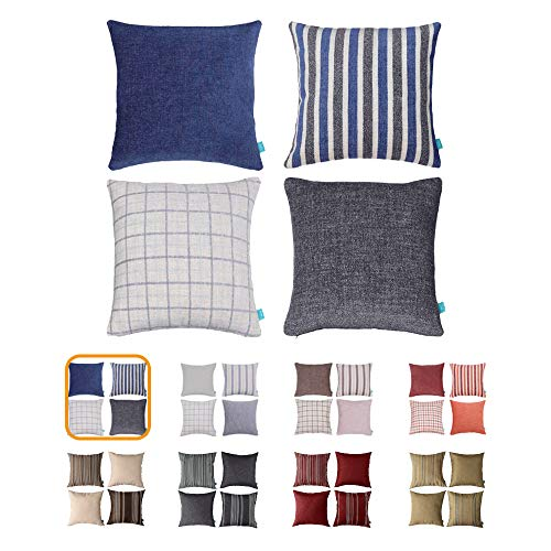 Home Plus Plaid Polyester Linen Decorative Pillow Covers Striped Throw Pillows Covers Gray Navy Blue Couch Pillowcase Cushion Cover 18x18 Throw Pillow (Couch Striped)