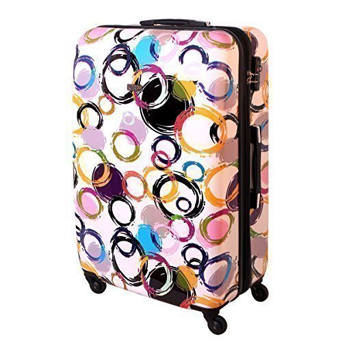 XXL Hartschalen Koffer Multi Color Circles TSA 120 Liter Weiss 813 / 818