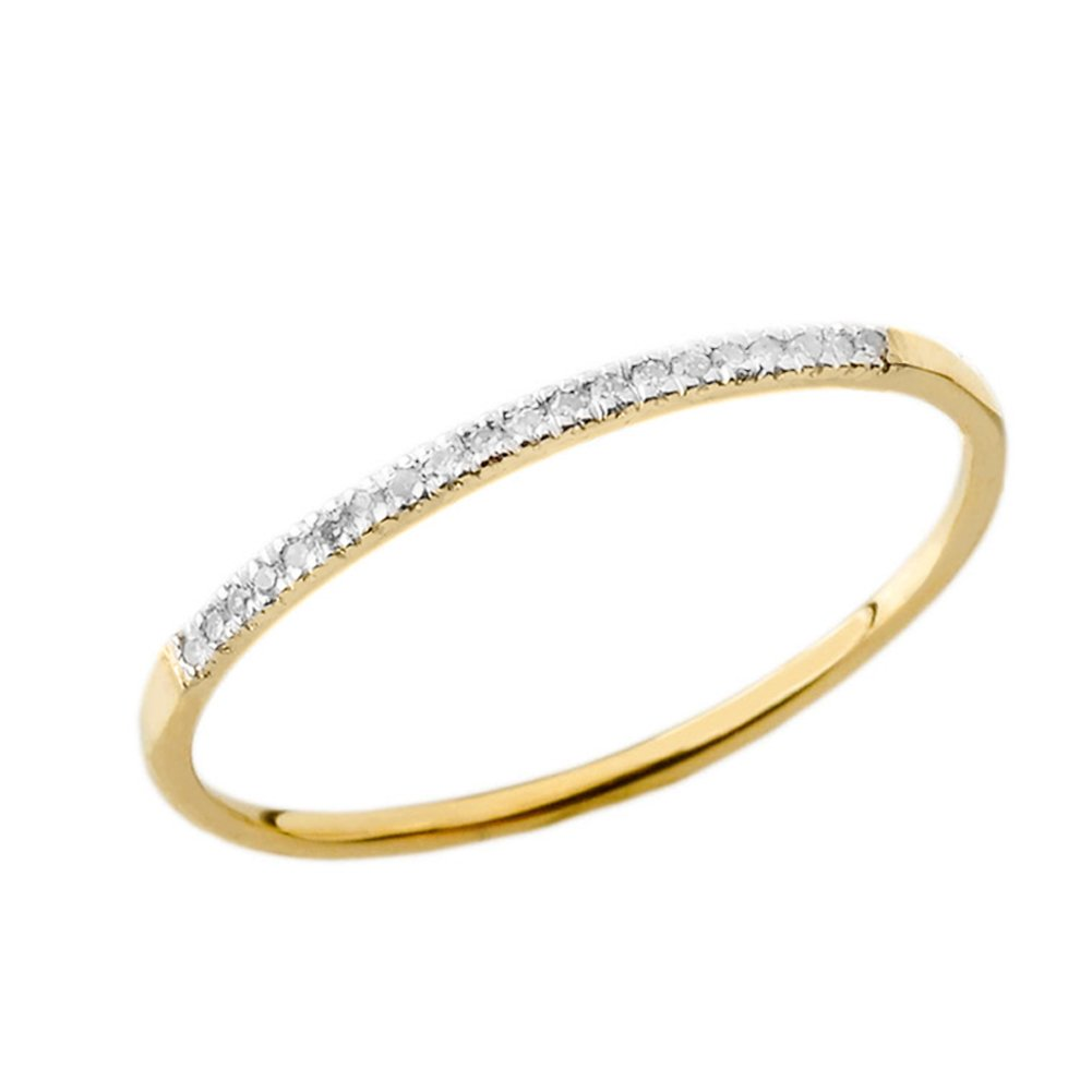 Dainty Modern Diamond Stackable Wedding Band in 10k Yellow Gold (Size 10.75)