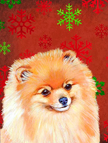 Caroline's Treasures LH9350CHF Pomeranian Red and Green Snowflakes Holiday Christmas Canvas House Flag, Large, Multicolor