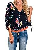 HUUSA Floral Top 3/4 Sleeve, Fashion Button Down Sexy V Neck Blouse Shirt L Blue