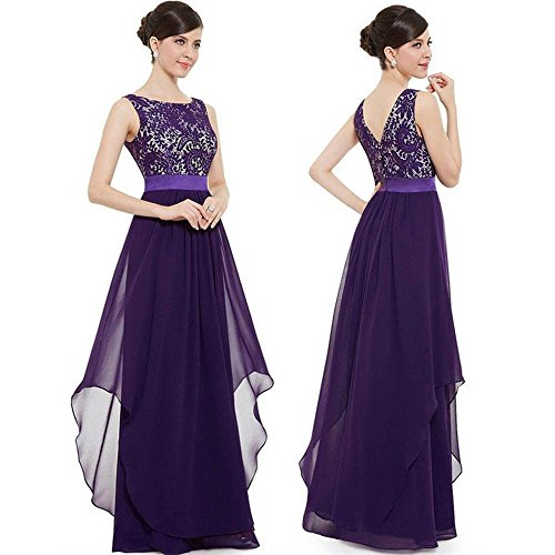 "Sinfu Women Sleeveless Long Chiffon Lace Evening Formal Party Ball Gown Prom Bridesmaid Dress (L:Bust:92cm/36.2"", Purple) from Sinfu"