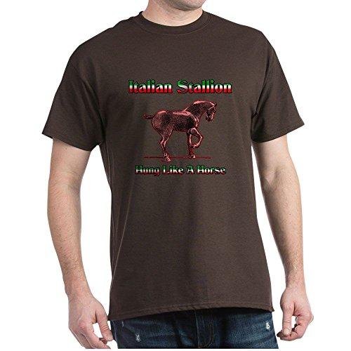 CafePress Italian Stallion Hung Like A Horse Dark T Shirt 100% Cotton T-Shirt Brown