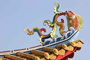 """Colorful Chinese Decoration on Temple Roof. - 24""""W x 16""""H - Peel and Stick Wall Decal by Wallmonkeys"""