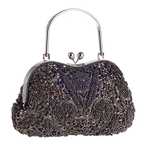 Vintage Floral Jewels Beaded Evening Purse Clutch Kissing Lock Metal Top-handle Prom Party Bag (Dark Grey)