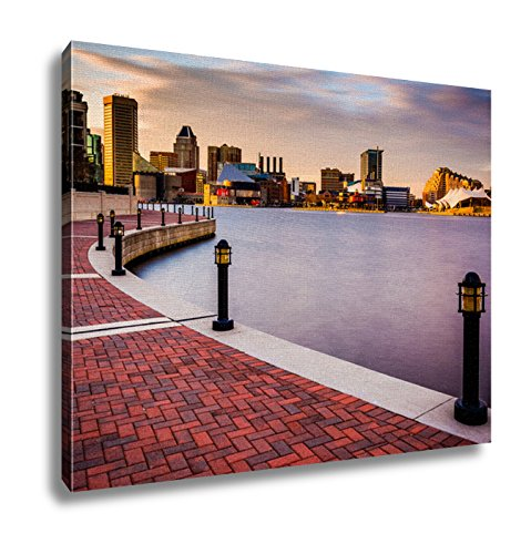 Ashley Canvas Long Exposure Of The Skyline And Waterfront Promenade In Baltimore Maryland Wall Art Decor Stretched Gallery Wrap Giclee Print Ready to Hang Kitchen living room home office, - Gallery Harborplace & The