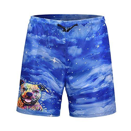 XiShuangJi Blue Galaxy Bulldog Beach Shorts Men Swimming Trunks Quick Drying Board Shorts
