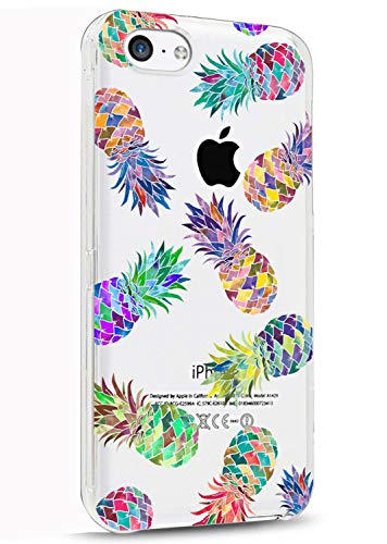 LUOLNH Slim Shockproof Clear Floral Pattern Soft Flexible TPU Back Cover Case Compatible with iPhone 5C -7 Color Pineapple