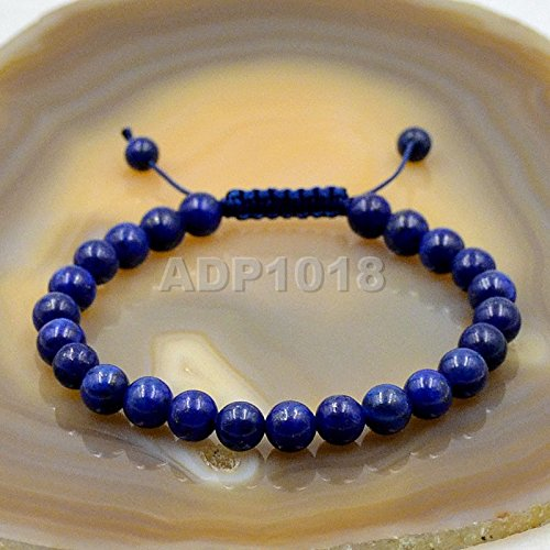AD Beads Natural 8mm Gemstone Bracelets Healing Power Crystal Macrame Adjustable 7-9 Inch (Lapis)