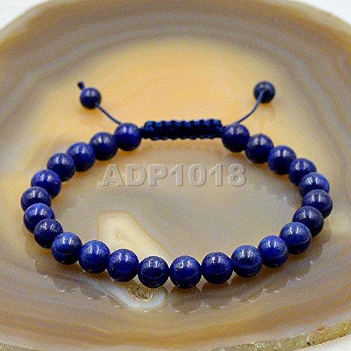 AD Beads Natural 8mm Gemstone Bracelets Healing Power Crystal Macrame Adjustable 7-9 Inch (Lapis)