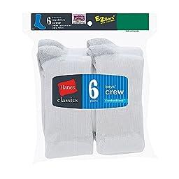 Hanes Boys Classics Crew EZ Sort Socks 6-Pk (361/6) -WHITE -S