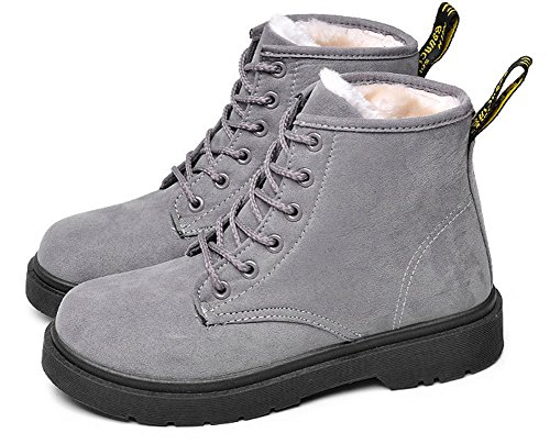 Womens Ankle Up Aisun Warm Toe Top Comfort Round Lace High Snow Gray Booties Platform Flat Fleeced pTTd7wvrq