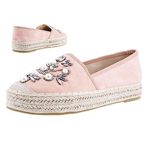 Stylische Espadrilles in Angesagten Pastell Farben mit Strass Steinen Blogger Style Anna Pink