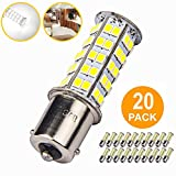 Automotive : 20 Pcs Extremely Super Bright 1156 1141 1003 BA15S 68-SMD LED Replacement Light Bulbs for RV Indoor Lights(20-Pack, Pure White (6000K-6500K Color Temputure))