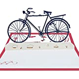 ZX101-3D Pop Up Bicycle Greeting Card Handmade Postcard Father's Day Birthday Gift - Red