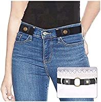 "No Buckle Ladies Elastic Belt for Women Mens Invisible Jeans Pants Dress Stretch Waist Belt up to 48"" by SUOSDEY"