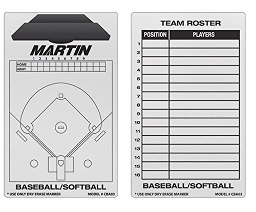 NEW Martin Dry Erase Baseball Softball 2 Sided 11''x16'' Coaches Board & Marker