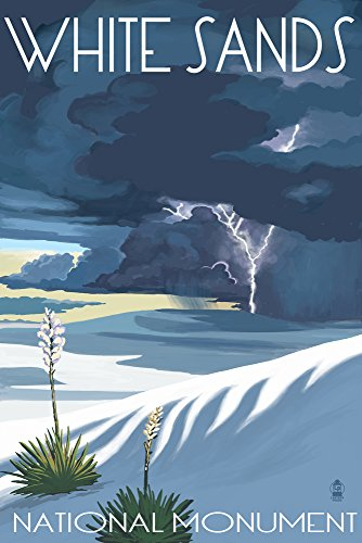 White Sands National Monument  New Mexico   Lightning Storm  9X12 Art Print  Wall Decor Travel Poster