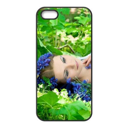 Blond Grass Leaves Flowers Lie Mood coque iPhone 5 5S cellulaire cas coque de téléphone cas téléphone cellulaire noir couvercle EOKXLLNCD22277
