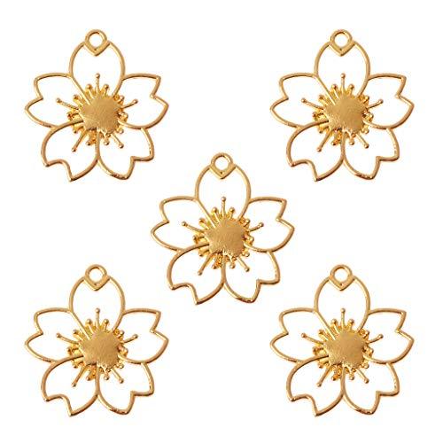STEBCECE Open Back Bezel Pendant Cherry Blossom Design Open Back Frame for Jewerry Making ()
