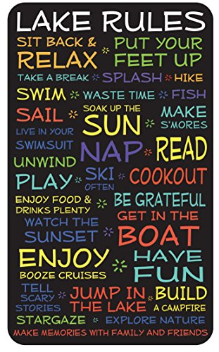 Lake Rules Sign: 18x30 in. funny decorative wood plaque with black background