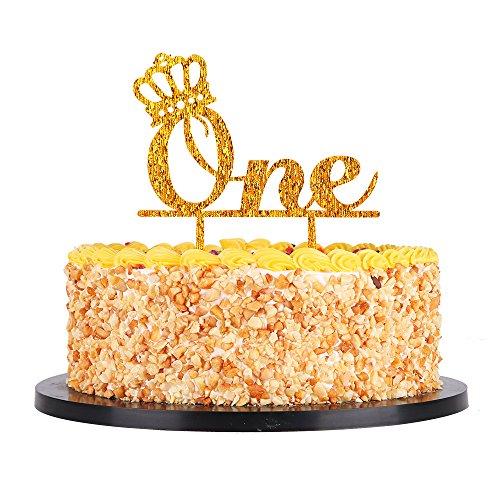 Terrific Qiynao Acrylic One Gold Crown Birthday Cake Topper 1St First Personalised Birthday Cards Vishlily Jamesorg