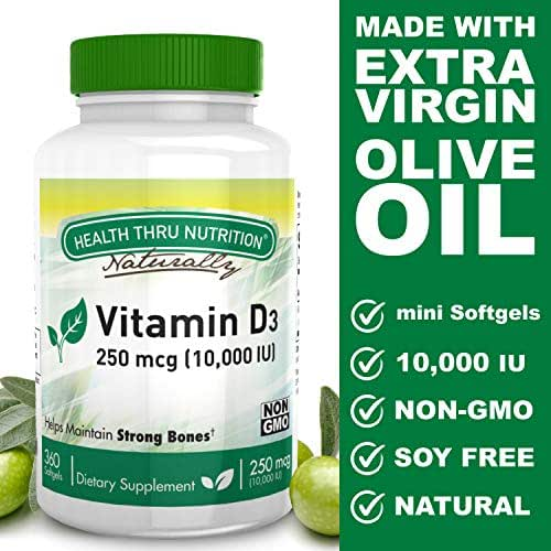 Health Thru Nutrition Vitamin D3 10,000 Iu Non-GMO Mini Softgels, 360 Count