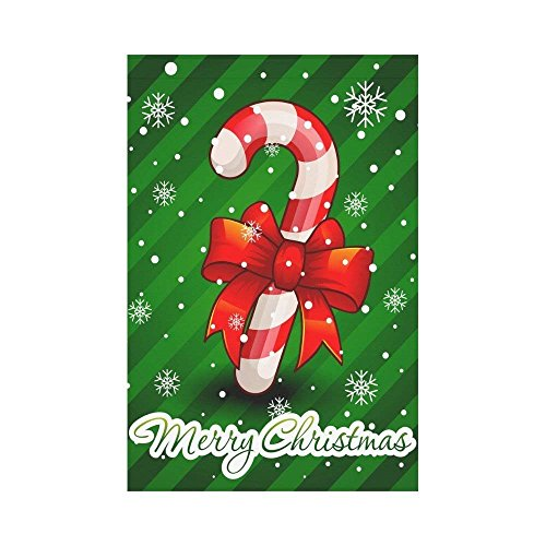 CHARMHOME Outdoor Décor Garden Flag Christmas Candy Cane 12 x 18 inch Home Decorative Winter Snowflakes House Banner Decoration Double Size Yard - Candy Garden Cane
