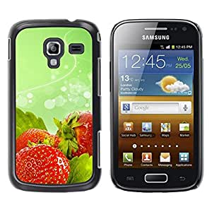 LECELL -- Funda protectora / Cubierta / Piel For Samsung Galaxy Ace 2 I8160 Ace II X S7560M -- Fruit Macro Wet Strawberries --