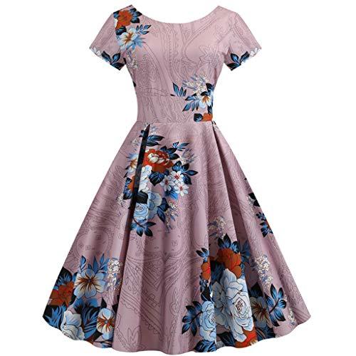 GDJGTA Dress Womens V-Neck Vintage 1950s Retro Short Sleeve Print Evening Party Gown Prom Swing Dress