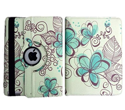 Ipad Case 360 Degrees Rotating Stand Leather Magnetic Smart Cover Case for Ipad 2/ 3/4 Generation Case with Bonus Screen Protector, Stylus and Cleaning Cloth ( Blue-Flower Design) Magnetic Screen Cover