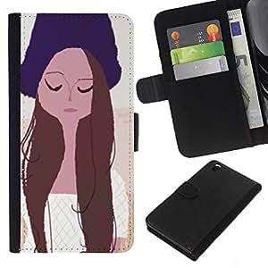 Planetar® Modelo colorido cuero carpeta tirón caso cubierta piel Holster Funda protección Para HTC DESIRE 816 ( Girl Portrait Eyes Closed Hat Art Drawing )