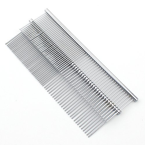 Set of 2 Zicome 8-inch Stainless Steel Dog Cat Pet Grooming Comb - Row Teeth Needle Hair Trimmer Grooming Comb - Medium 2 Spacing Teeth Grooming Comb by ZICOME