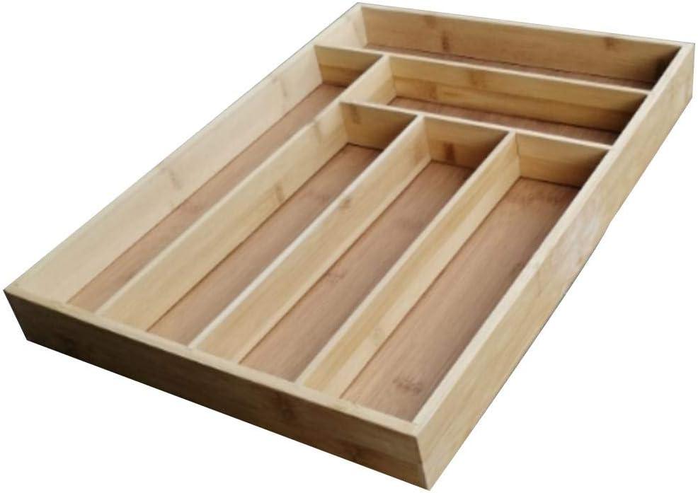 soporte de cubiertos de madera organizador de cajones de bamb/ú caja de caj/ón de cocina Rosemaryrose Bandeja de cubiertos extensible de bamb/ú organizador de cajones de cocina