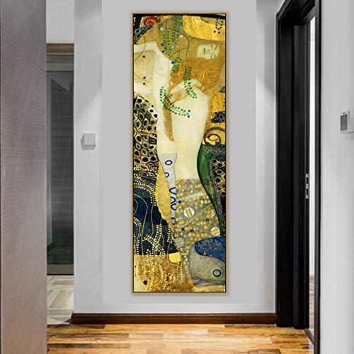 (Large Canvas Print Digital Photo Wall Art Room Decor, Gustav Klimt Water Serpents I Panoramic Oil Painting UNFRAMED)