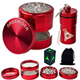 GREEN-DER Cool Herb Grinder Set for Weed, Spices, and Tobacco: Large 4pc, 3.25 inches Tall, Sharp Metal Crusher with Pollen/Keef Catcher and Smell Proof Herb Stash Container, Red.