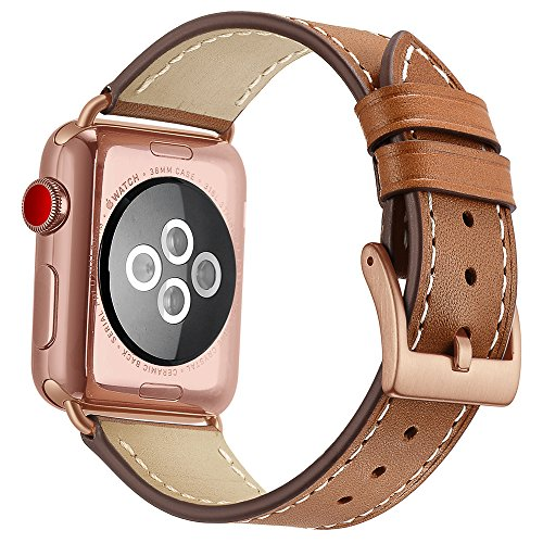 OXWALLEN Compatible for Apple Watch Band 42mm 44mm, Genuine Leather Watch Strap Compatible with Apple Watch Series 4 (44mm) Series 3 Series 2 Series 1 (42mm) Sport and Edition, Brown - Leather Band Brown Gold