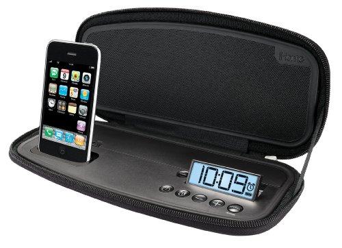 iHome iP38 Portable Stereo Alarm Clock for iPod and iPhone (Black) by Sound Design