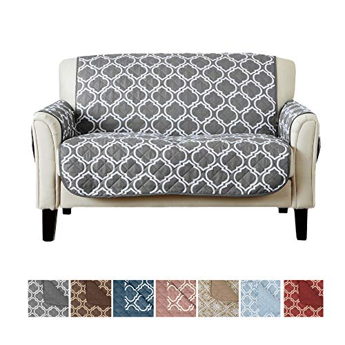 (Home Fashion Designs Adalyn Collection Deluxe Reversible Quilted Furniture Protector. Beautiful Print on One Side/Solid Color on The Other for Two Fresh Looks Brand. (Loveseat, Charcoal))