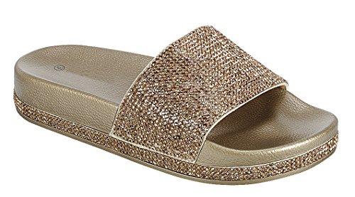 Cambridge Select Women Open Teen Kristal Strass Bezaaid Glitter Slip-on Platte Slide Sandaal Goud