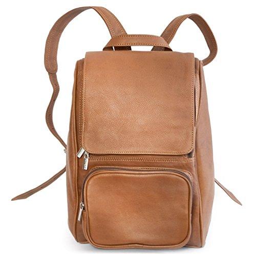 Mittel-Großer Lederrucksack Größe M Laptop Rucksack bis 14 Zoll, für Damen und Herren, Cognac-Braun, Jahn-Tasche 710