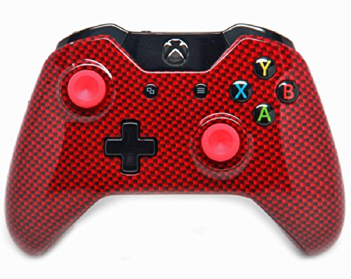 Red Carbon Fiber Xbox One Rapid Fire Modded Controller PRO Finish 40 Mods for COD BO2, BO3, Advanced Warfare, Destiny, Ghosts Quickscope, Jitter, Drop Shot, Auto Aim, Jump Shot, Auto Sprint, Fast Reload, Much More
